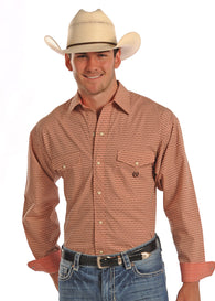 Men's Panhandle slim long sleeve peach shirt