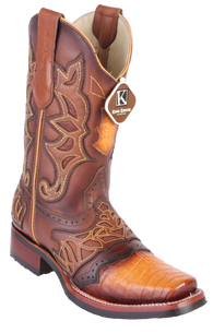 Caiman belly rodeo square toe boot