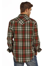 Western snap shirt rust, green, bone plaid