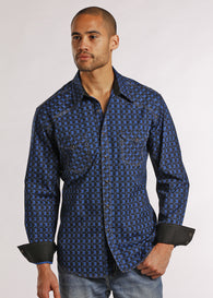 Panhandle slim men's blue long sleeve shirt