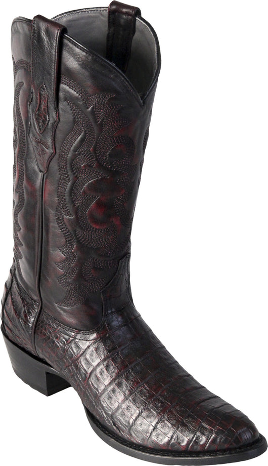 Black Cherry Caiman Belly Round Toe Boot Los Potrillos Western Wear