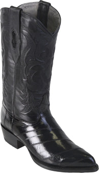 Black Eel Leather Sole J-Toe Boot Bota Anguila Los Potrillos Western Wear 990805