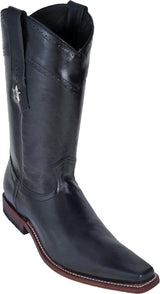 Narrow Square Toe Black Boot Bota Negra Los Potrillos Western Wear