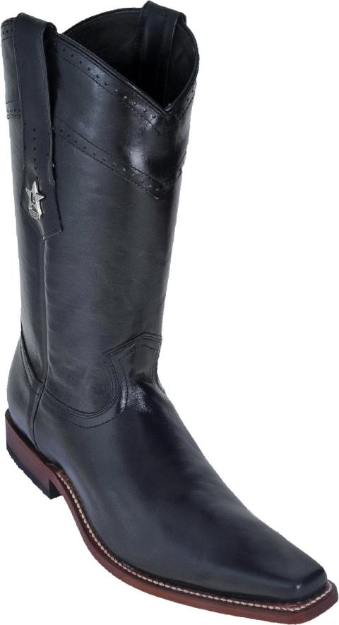 Los Altos Boots Narrow Square Toe Black Boot Bota Negra Los Potrillos Western Wear