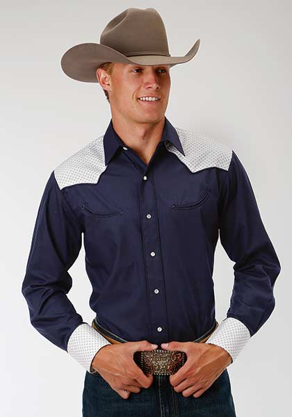 White Shoulder Blue Snap Shirt Los Potrillos Western Wear