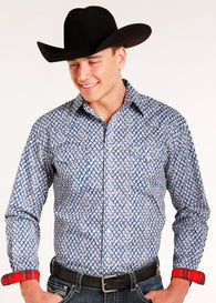 Blue White Red Western Snap Shirt Los Potrillos Western Wear