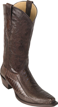 Black Brown Ostrich Leg Boot Bota Cafe Avestrus Los Potrillos Western Wear