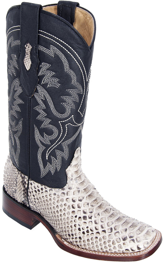 Natural Python Wide Square Toe Boot Bota Piton Los Potrillos Western Wear