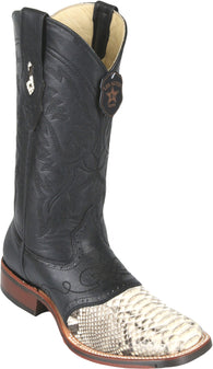 Men's boots with saddle python square toe