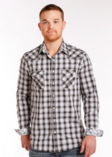 Black White Ombre Plaid Western Snap Los Potrillos Western Wear