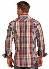 Brown red western snap shirt camisa vaquera cafe roja Los Potrillos Western Wear