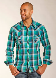 Green turquoise western snap shirt camisa vaquera verde Los Potrillos Western Wear