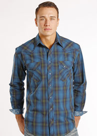 Panhandle Slim long sleeve snap shirt blue plaid