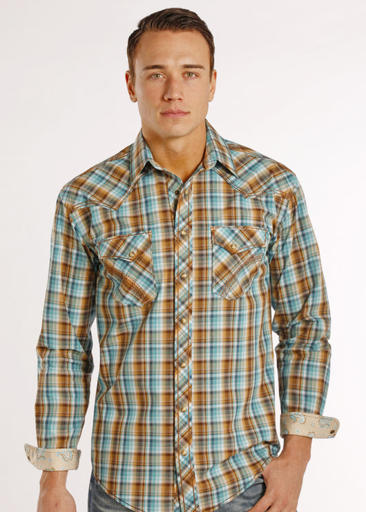 Long sleeve turquoise brown plaid