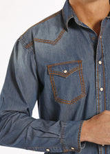 Men's Panhandle slim long sleeve blue jean shirt