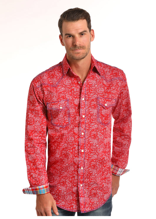 Red Western Snap Los Potrillos Wester Wear