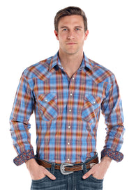 Vintage Ombre Plaid Western Snap Shirt