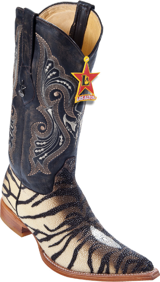White and brown  tiger print stingray 3X toe boot