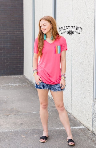 Coral Pocket Knot Top