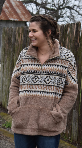 Tribal Print Zip Up Fuzzy Over Sized Pull Over