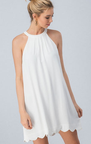 Scalloped Trimmed Dress - White