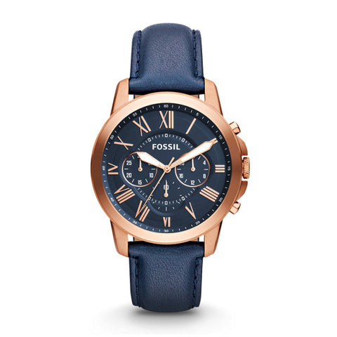 Fossil Grant Chronograph Navy Leather Watch