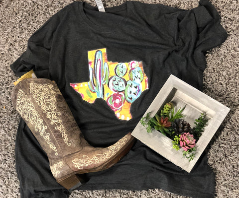 Texas with Cactus Print