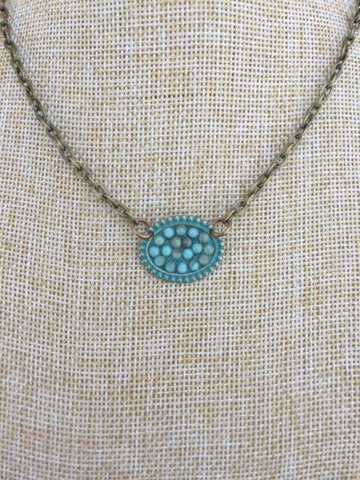 Mini Turquoise Sideways Oval Necklace