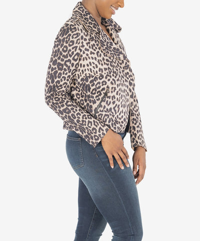 JACEE DRAPED MOTO JACKET (CHEETAH PRINT)