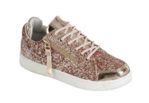 Ultra Glittery Low Top Sneakers Rose Gold