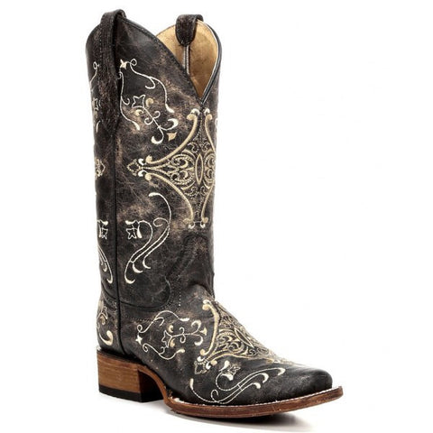 Brown Crackle/Bone Embroidery Square Toe Boot