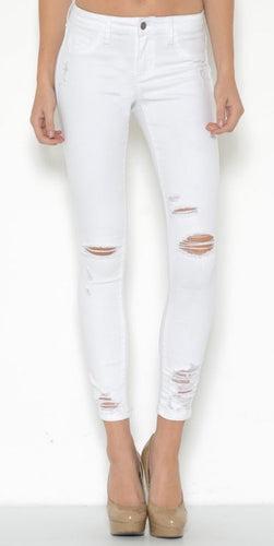 White Destroyed Cropped Ankle Jeans