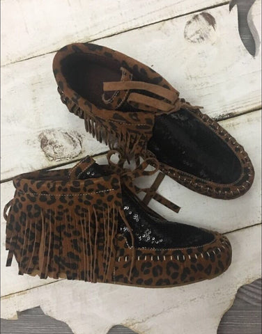Leopard and Black Sequin Moccasins