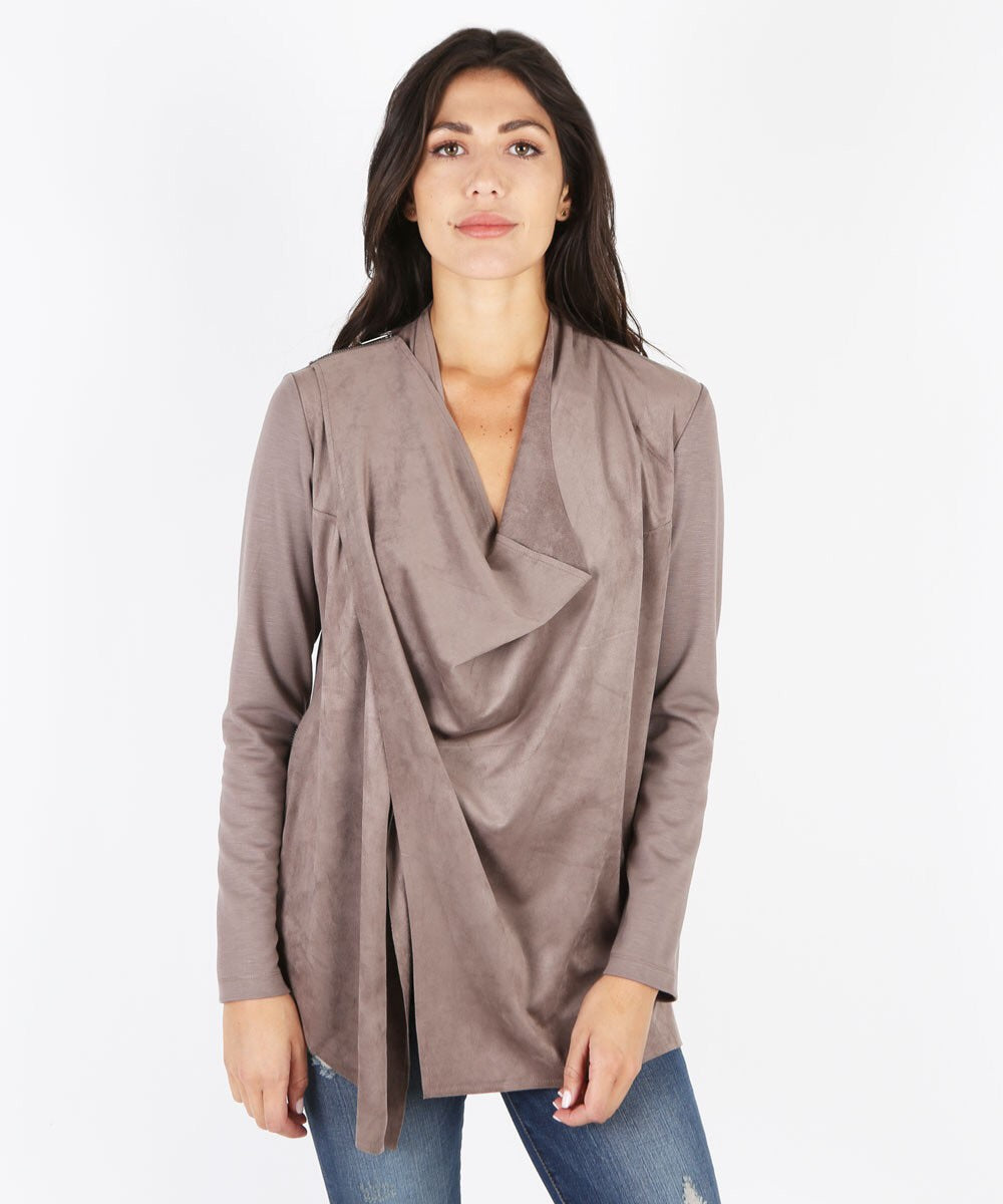 Sansa Convertible Draped Jacket (Buff)