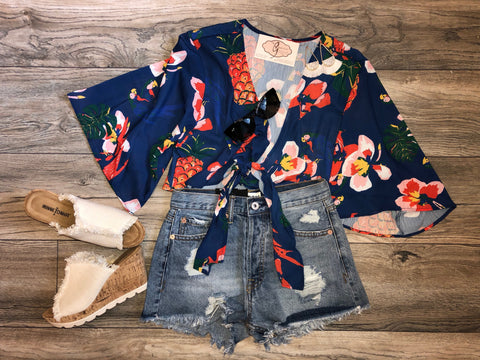 Bell Sleeve Parrot Top