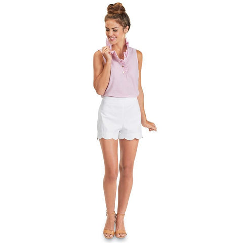 Katherine Scallop Short White