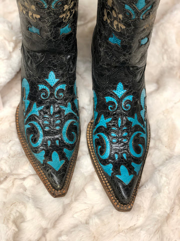 Black/Turquoise Vintage Lizard Inlay Boot