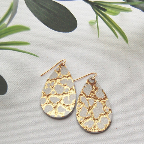Leatherd Psalms Gold Flake Metallic Earrings