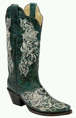Women's Embroidered Rose Boots