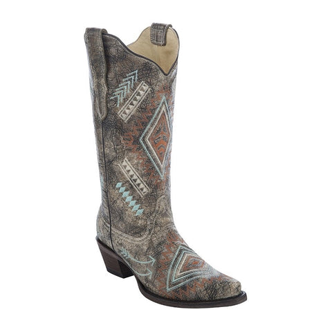 Cowhide Snip Toe Boot with Embroidery