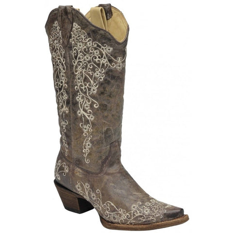 Bone Embroidery Western Boots