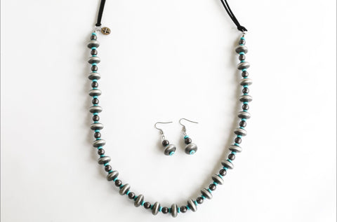 Black Leather with Silver & Turquoise Necklace