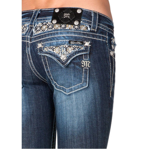Miss Me Beaded Flower Bootcut Denim