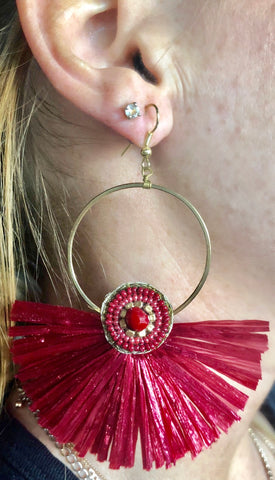 Burgundy Fan Earrings