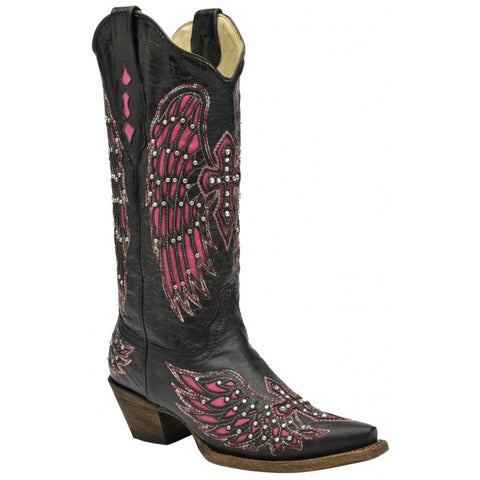 Cross and Wing Inlay Western Boots
