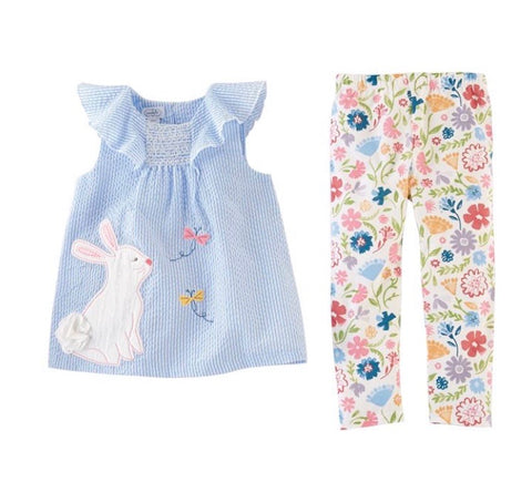 SEERSUCKER BUNNY TUNIC & FLORAL LEGGING SET