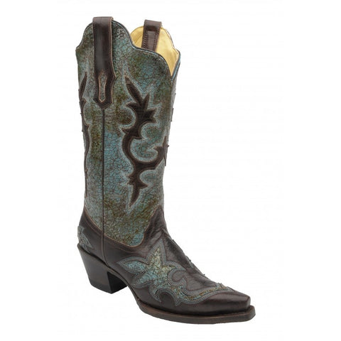 Corral Turquoise Green/Chocolate Patch Boots