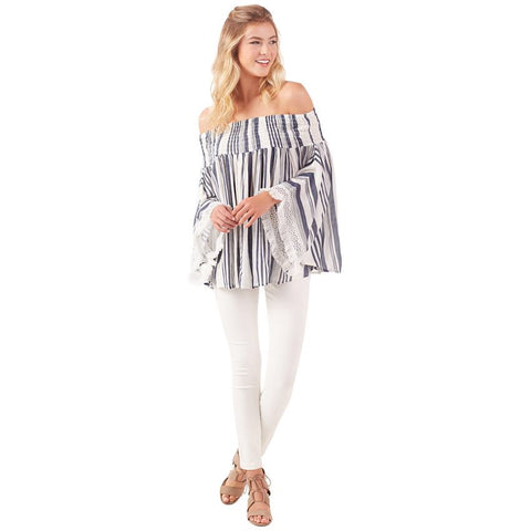 Mud Pie Kristin Off the Shoulder Top Chambray Stripe