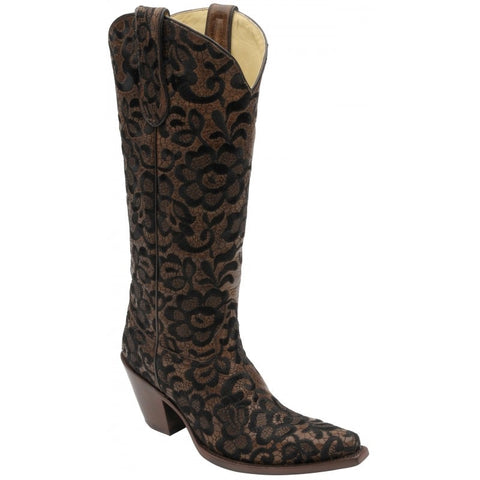 Chocolate/Black Tall Floral Lace Boot