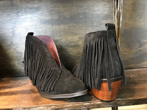 Leather Fringe Booties by L&B